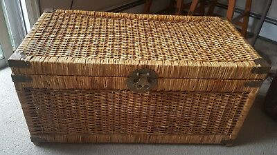 XLARGE VINTAGE WOVEN Wicker Chest Trunk Coffee Table X - Woven trunk coffee table