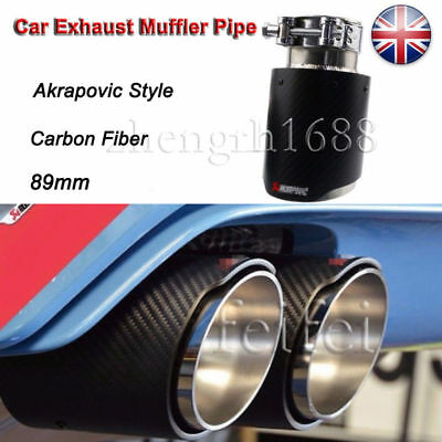 1pc 89mm Carbon Fiber Car Exhaust Muffler Pipe Tip For Akrapovic Style UK