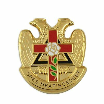 """32Nd Degree Rose Croix Cross Gold Lapel Pin - 7/8"""" Tall By The Masonic Exchange"""