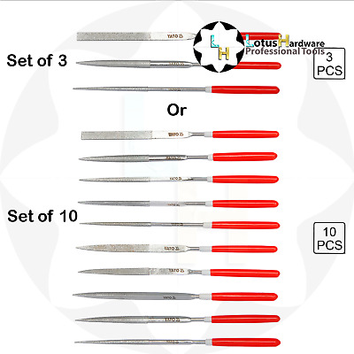 Diamond needle file set(s) 3pcs / 10pcs L=140mm Yato YT-6143 / YT-6144