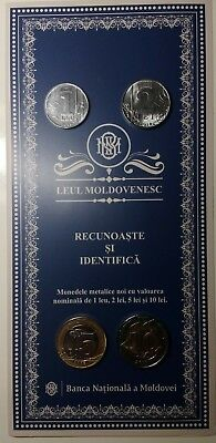 Moldova 2018 New coins Set 1+2+5+10 Lei with booklet UNC