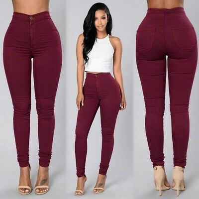 Women Denim Jeans New Fashion Multi Colors Girl Casual Jeans Pants Red