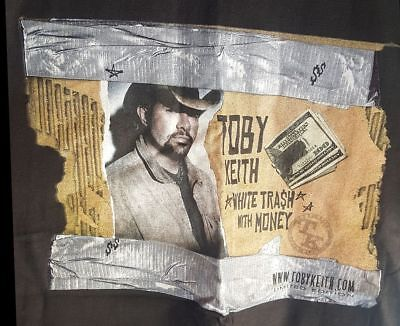 Toby Keith White Trash With Money Black Shirt Top Adult Large