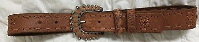 Miss Me Girl's Youth Brown Leather Belt Size S/M Small/Medium