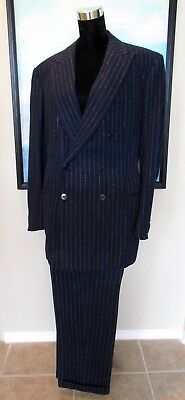 BESPOKE Hicks & Sons SAVILE ROW VTG Blue Wool Pinstripe Double Breasted Suit 42R
