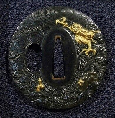 SUPERB 19 C.  DRAGON SHAKUDO TSUBA SIGNED + NBTHK Japanese Samurai Sword Menuki