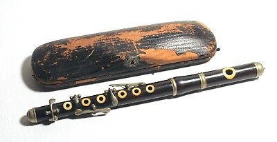 "Antique Vintage Old 19th Century 11.5"" Piccolo Woodwind Wood Instrument w/ Case"