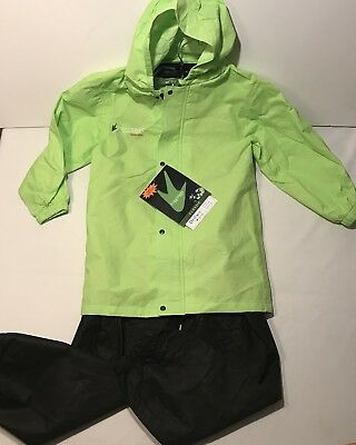 FROGG TOGGS Polly Woggs Kids RAIN SUIT Visibility GREEN JACKET Black PANTS LARGE
