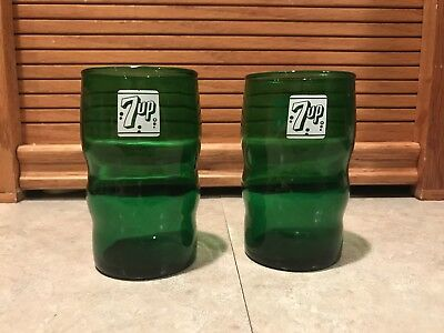 Pair Of Antique 7up Drinking Glasses