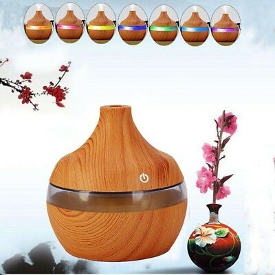 Electric Wood Purifier Mist Aroma Essential Oil Diffuser LED 300ml Humidifier AU