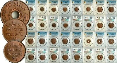 PCGS MS-65/64 PALESTINE LOT OF 16 (SIXTEEN) COINS 1-2-5-10 MILS 1935-1946 etc