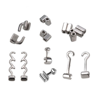 10 Pcs Dental Orthodontic Crimpable Hooks Sliding/Spiral Cross/Double Tube Stops