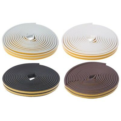 10M D-Type Foam Draught Self Adhesive Window Door Excluder Rubber Seal Strip 1Pc