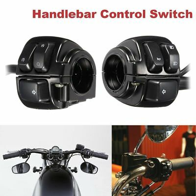 "Pair Motorcycle 1"" Handlebar Control Switches Black + Wiring Harness for Harley"