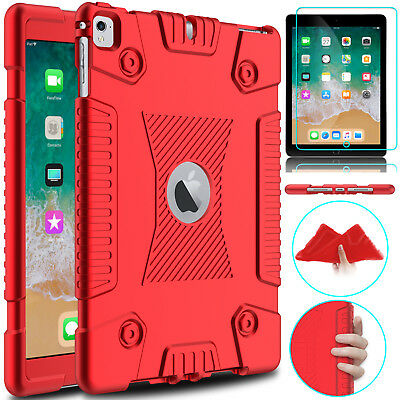 For iPad 9.7 2018 6th Gen Shockproof Soft Silicone Case + Glass Screen Protector