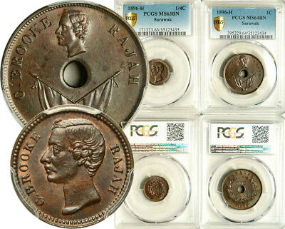Pcgs Ms-64/63 Sarawak Lot Of 2 (Two) Coins: 1/4 + 1 Cent 1896 (Rare This Nice!)
