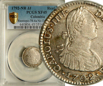 Pcgs Xf-45 Colombia Silver 1 Real 1792 (Rare This Nice!)