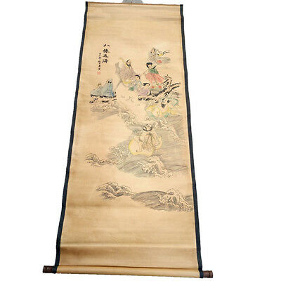 Chinese Hanging Draw Hand-Painted Eight Immortals Calligraphy Scroll Painting