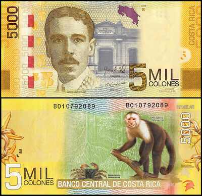 Costa Rica 5,000 (5000) Colones, 2012, P-276, UNC, Series B, Monkey