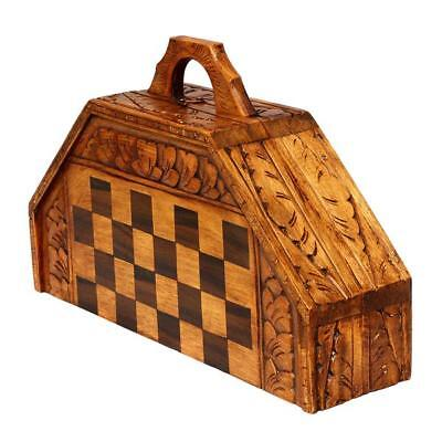 Chess SET - Bali Indonesian Wooden Hand Carved CHESSBOARD - Portable Foldup