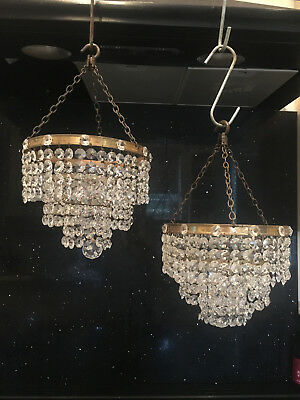 Matching Pair Of Vintage Lead Crystal Three Tier Waterfall Chandeliers