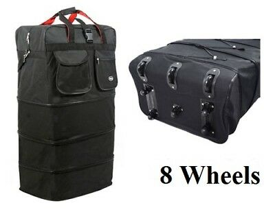 8-Wheel 36″ Black Rolling Expandable Duffle Bag Spinner Suitcase Luggage – NEW