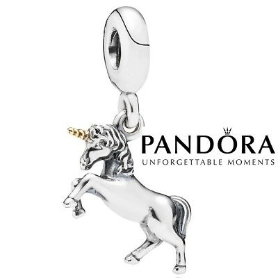Genuine PANDORA Unicorn Charm Silver/Gold S925 ALE  Velvet Bag or Gift  Box