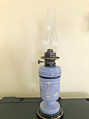 Victorian  blue & white pottery  oil lamp -  Hink's Patent Duplex burner