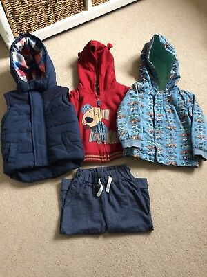 Boys Spring Coat, Hoodie And Gilet. 12-18 Months.