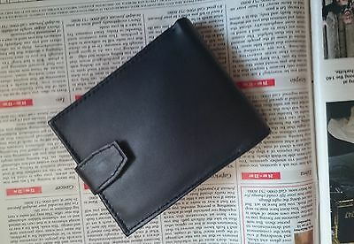 Mens Luxury Soft  Quality Real Leather Black Wallet, Credit Card Holder, Purse