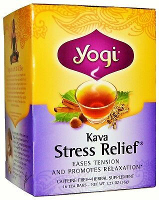 Kava Tea - Herbal Relief from Stress Anxiety Tension -16 Yogi Caffeine Free Bags