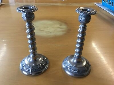 Pair of Ianthe type Silver Plate Candlesticks - made in England - approx 6 ins