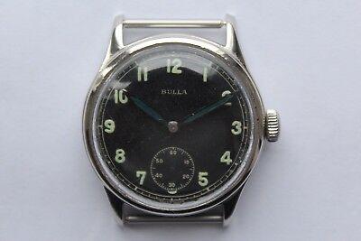 Rare Vintage Watch Military BULLA DH A.S 1130 World War German Army WWII 1940`S