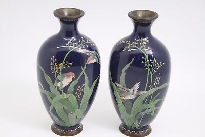 Pair Fine  Silver Wire Japanese Cloisonne Ovoid Vases  Fabulous