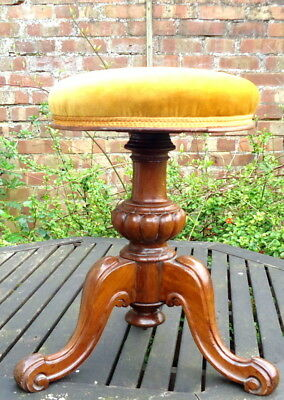 """VICTORIAN"". Circular Piano Stool. with Excellnt Upholstered Seat c1890 - 1910."