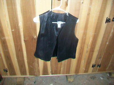 JACQUELINE FERRAR  Women's Black Leather Sleeveless Vest w/Poly Lining /  Size 8