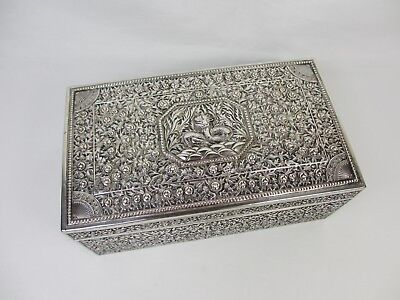 ANTIQUE 19TH C HALLMARKED LARGE CHINESE SILVER BOX 1880'S 524g