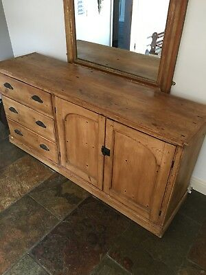 Stunning In Beautiful Condition Victorian Pine Antique Dresser Base / Sideboard