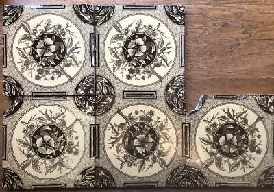 Four Arts And Crafts style Victorian decorative tiles
