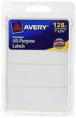 Avery All-Purpose Labels, 1 x 2.75 Inches, White, Pack of 128 (6113) Each