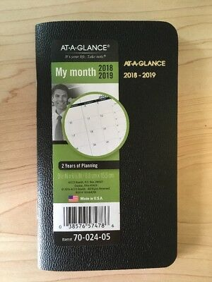NEW AT-A-GLANCE Monthly Pocket Purse Calendar Date Planner, 2018-2019 Fast Ship!