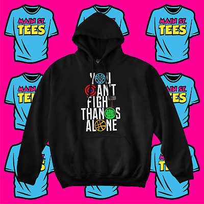AVENGERS Infinity War JUSTICE LEAGUE Logo Hoodie THANOS Marvel Adult Youth