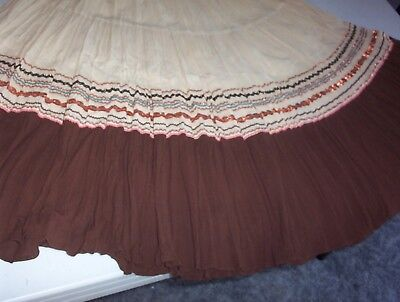 Vintage Mexican Womens Tiered Skirt Costume Copper Rick Rack