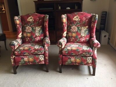 Pair Of Ethan Allen Wing Back Recliners Chairs In P Kaufman Queensland  Fabric