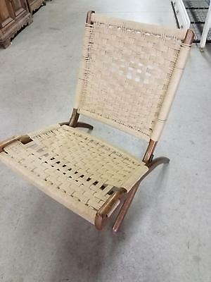 MCM Mid Century Danish Modern Hans Wegner Style Folding Woven Rope Lounge  Chair