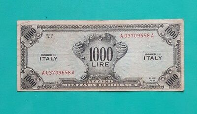 1000 Am Lire Monolingua Occupazione Americana In Italia Dec 1943 F. L.c /Bb/ R4