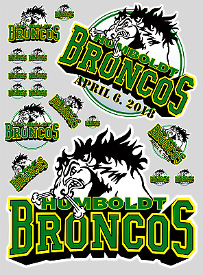 "12"" x 9"" Humbolt Broncos Contour Cut Vinyl Sticker Bundle"