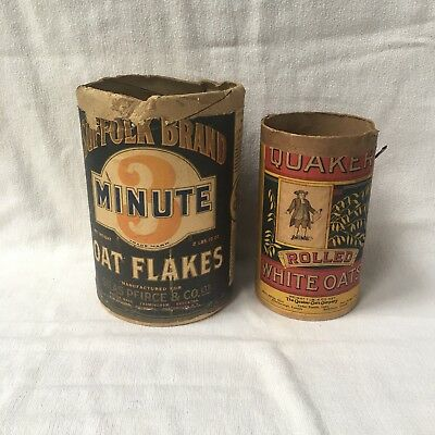 2 Old cardboard containers Suffolk 3 minute oat flakes & Pure Quaker Oats
