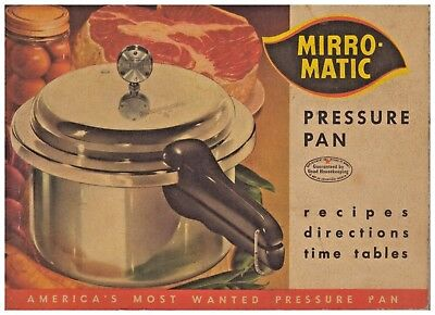 Mirro-Matic Pressure Pan Cooker Vintage 1958 Cookbook & Canning Guide