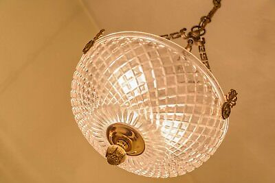 Antique Crystal Hanging Bowl Chandelier